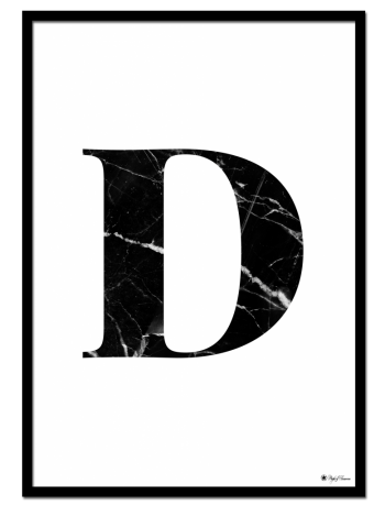 D - Marble Letter poster | Minimalistic typography poster with black marble texture.