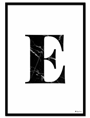 E - Marble Letter poster | Minimalistic typography poster with black marble texture.