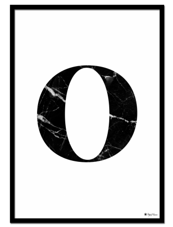 O - Marble Letter poster | Minimalistic typography poster with black marble texture.