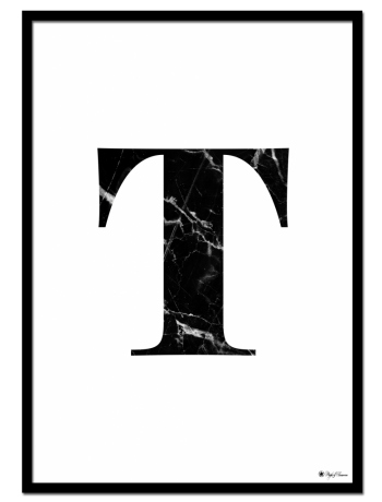 T - Marble Letter poster | Minimalistic typography poster with black marble texture.