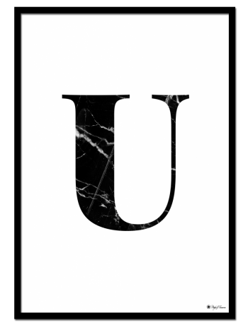 U - Marble Letter poster | Minimalistic typography poster with black marble texture.