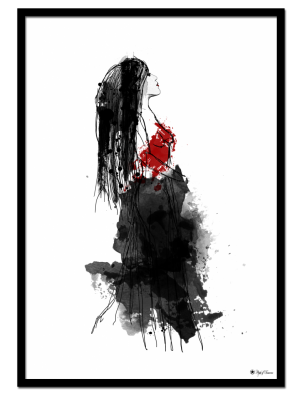 Elle Noir poster |Drawing of a woman in red and black dress.