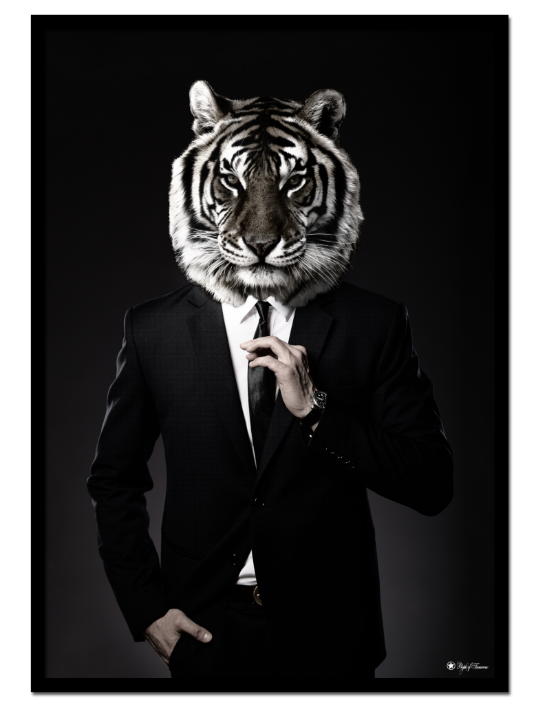 Gentleman poster | Masculine art print of a tiger in suit.