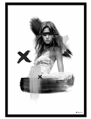 Rebel poster | Artistic art print of a woman with brush elements.