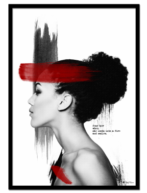 Red Velvet poster |Photo poster of woman with brush art elements and typography.