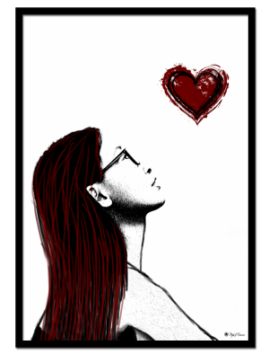 Show Me Love poster | Drawing of a woman looking at a red heart.