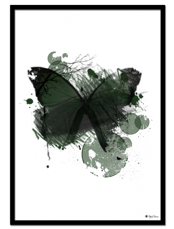 "Green Butterfly poster | Beautiful green butterfly with abstract elements. Match with ""Green Marble"" and ""EYE See You"" for the perfect gallery wall."
