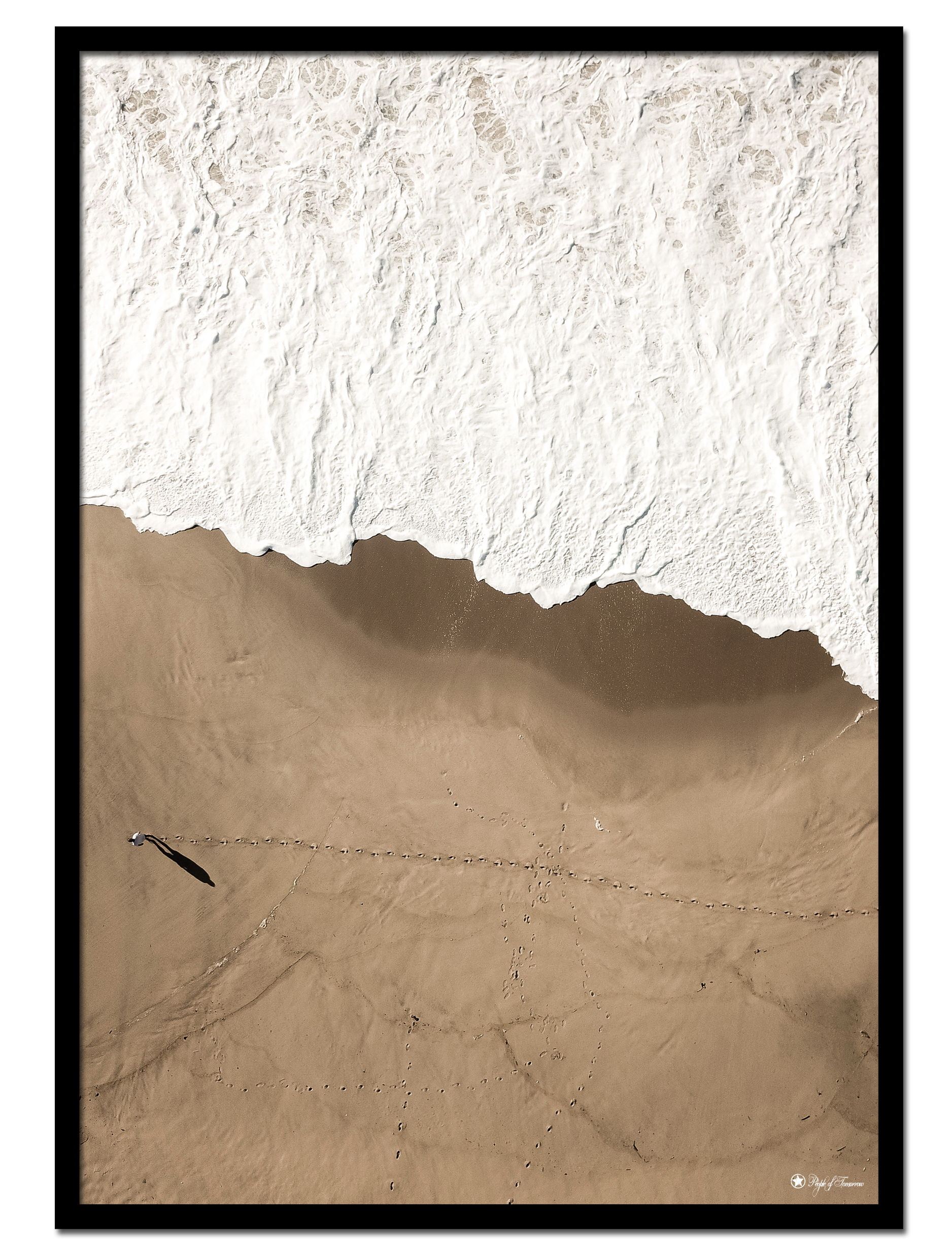 "Big Brown Beach poster | Beautiful photo art of white sea foam and brown beach. Match with ""Tiny Cheetah"" and ""Surf"""