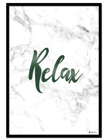 Relax poster |Typography poster with green font on white marble background.