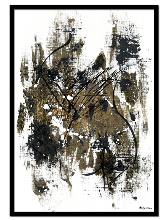 Golden Fire poster | Abstract art print made from acrylic paint with digital modifications. By combining analogue and digital techniques we have created a special edition of poster art for your home. These art prints are painted with acrylic paint on canvas and modified digitally by our designteam.