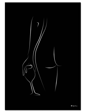 Home Alone – Black poster | Line art poster of a naked woman with a wine glass.