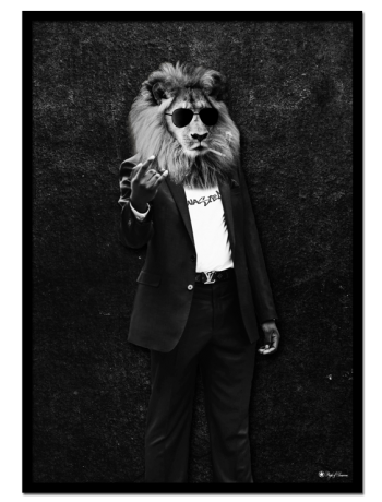 Most Wasted poster | Artistic poster of a lion in a suit doing hand gestures.