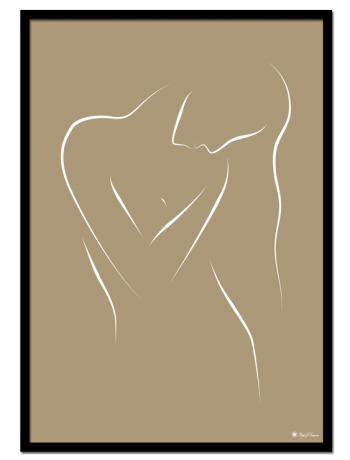 Vienna poster | White line art drawing on beige background.